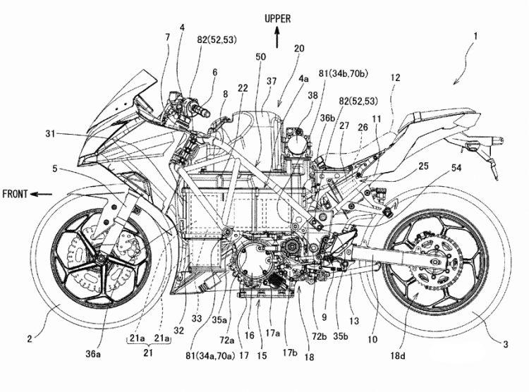 カワサキの電動バイクのパワーユニットパテント